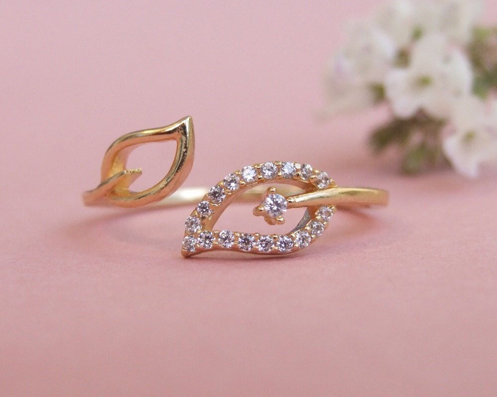 Two Wrap CZ Leaves Ring, Adjustable Ring, 14K Yellow Gold Plated ...