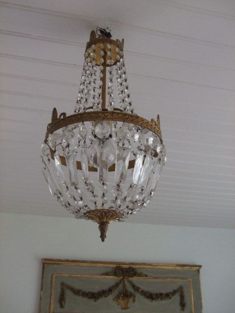 Vintage French Beautiful Crystal Bag Chandelier