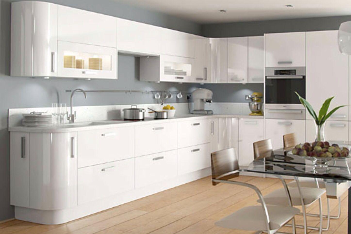 Grey Walls Glossy Kitchen White Gloss Kitchen Curved Kitchen