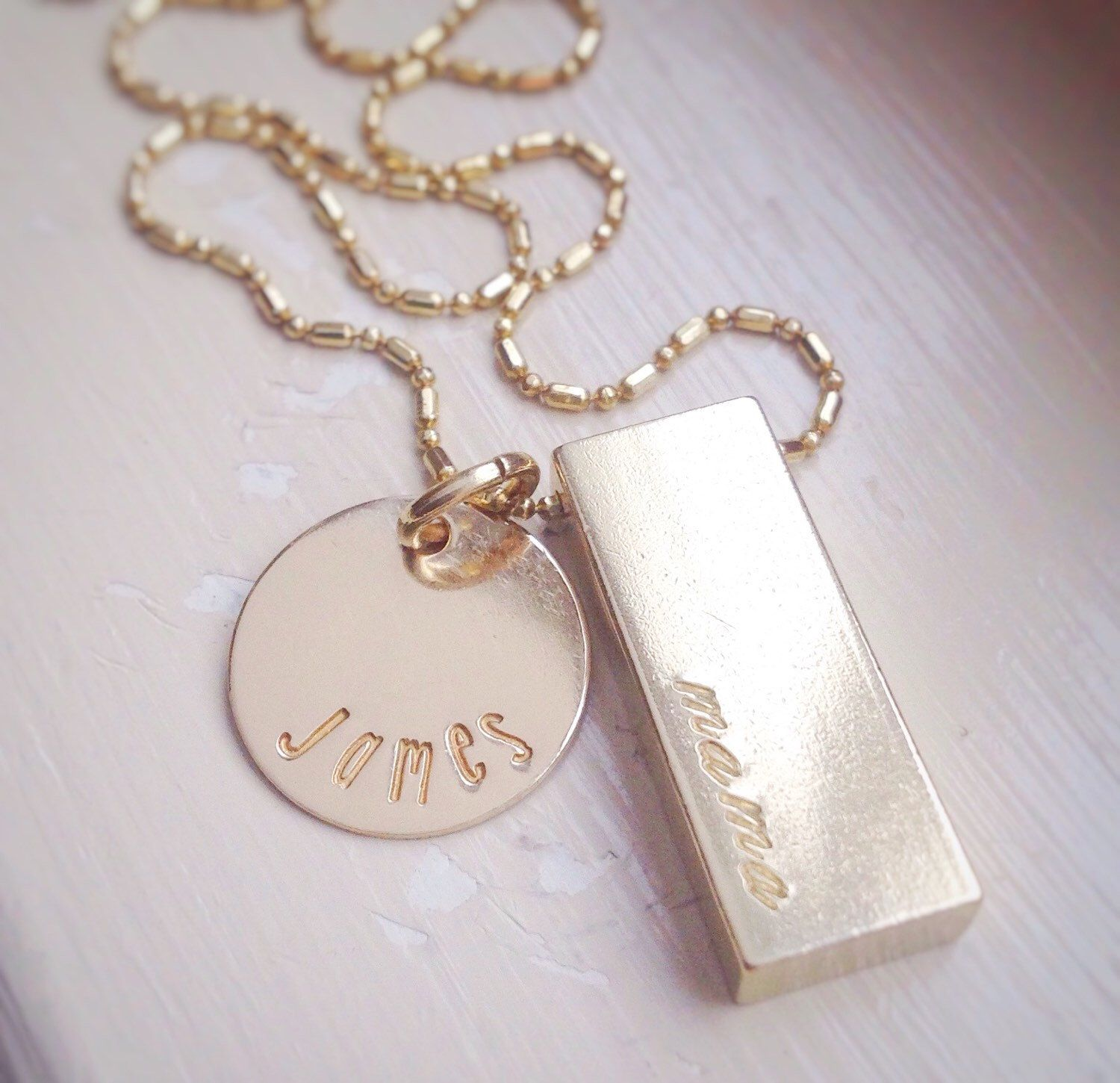 Personalized Gold Bar Brass Necklace Gift For Mom Custom