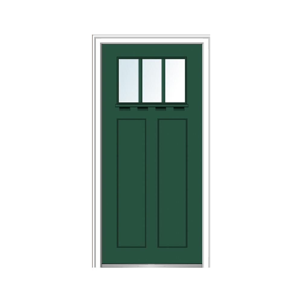 Mmi Door 36 In X 80 In Clear Lowe Glass 3 Lite Hunter Green Shaker With Shelf Painted Fiberglass Smooth Prehung Front Door Z028314r Green Front Doors Prehung Doors Wood Entry Doors
