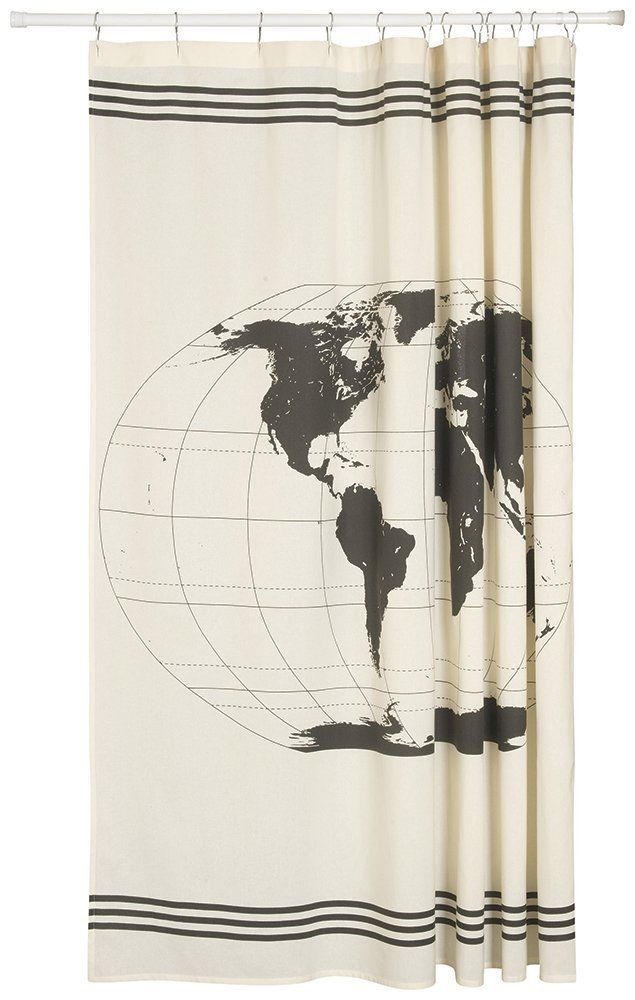 Amazon danica studio shower curtain odyssey anchor shower now designs shower curtain world map these thick durable cotton shower curtains are the perfect canvas to showcase stylish designs on a large scale gumiabroncs Image collections