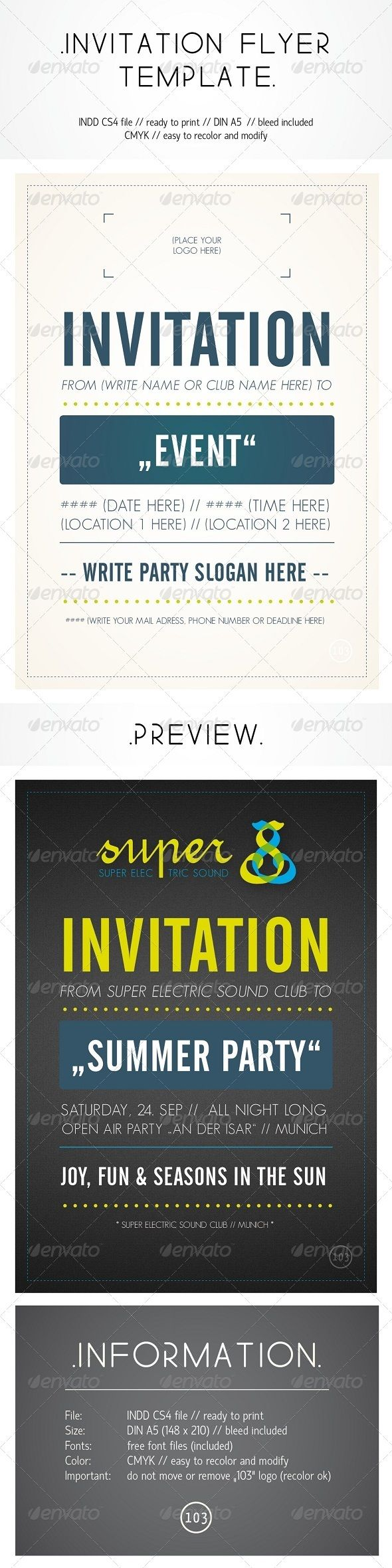 Buy Invitation Flyer Template by on