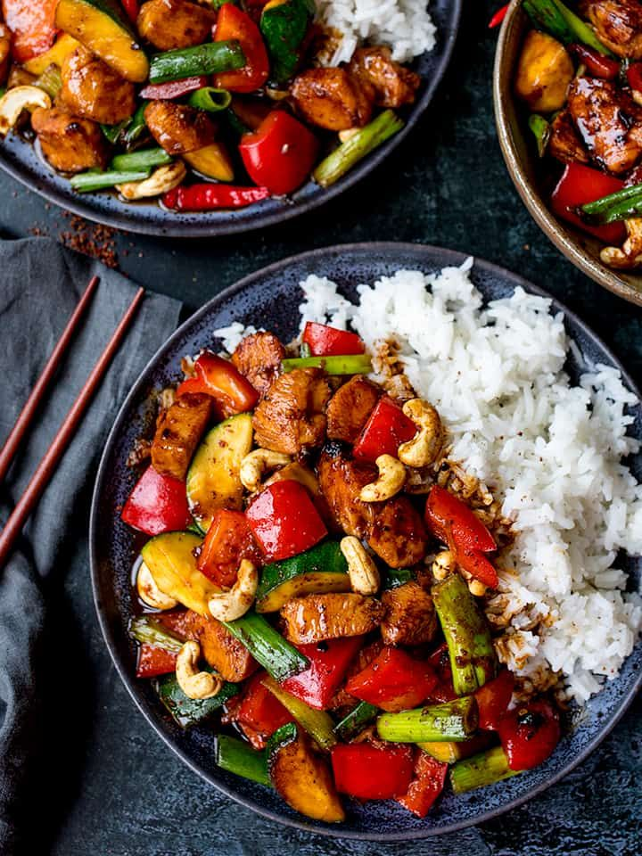 My Kung Pao Chicken is a deliciously spicy stir fry with lots of chunky veggies and chicken, coated in a rich, tasty homemade sauce!