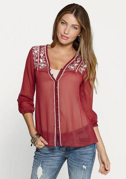 897939e87e85c Portia Embroidered Blouse - Plus Size Tops - Alloy Plus - Clothing - Alloy  Apparel