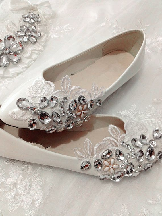 Handmade Pearl White lace bow wedding shoes ballet flat leather Pearl beads Bridal shoes Bridal flat heel shoes Bridesmaids shoes on Etsy, $55.99