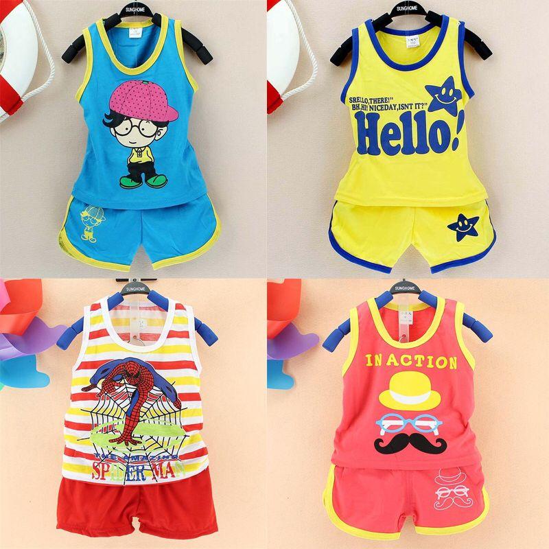 2015 summer kids clothes boy /girl cotton  Vest + shorts 2pcs cartoon Pattern children's clothing set baby clothes sports suit