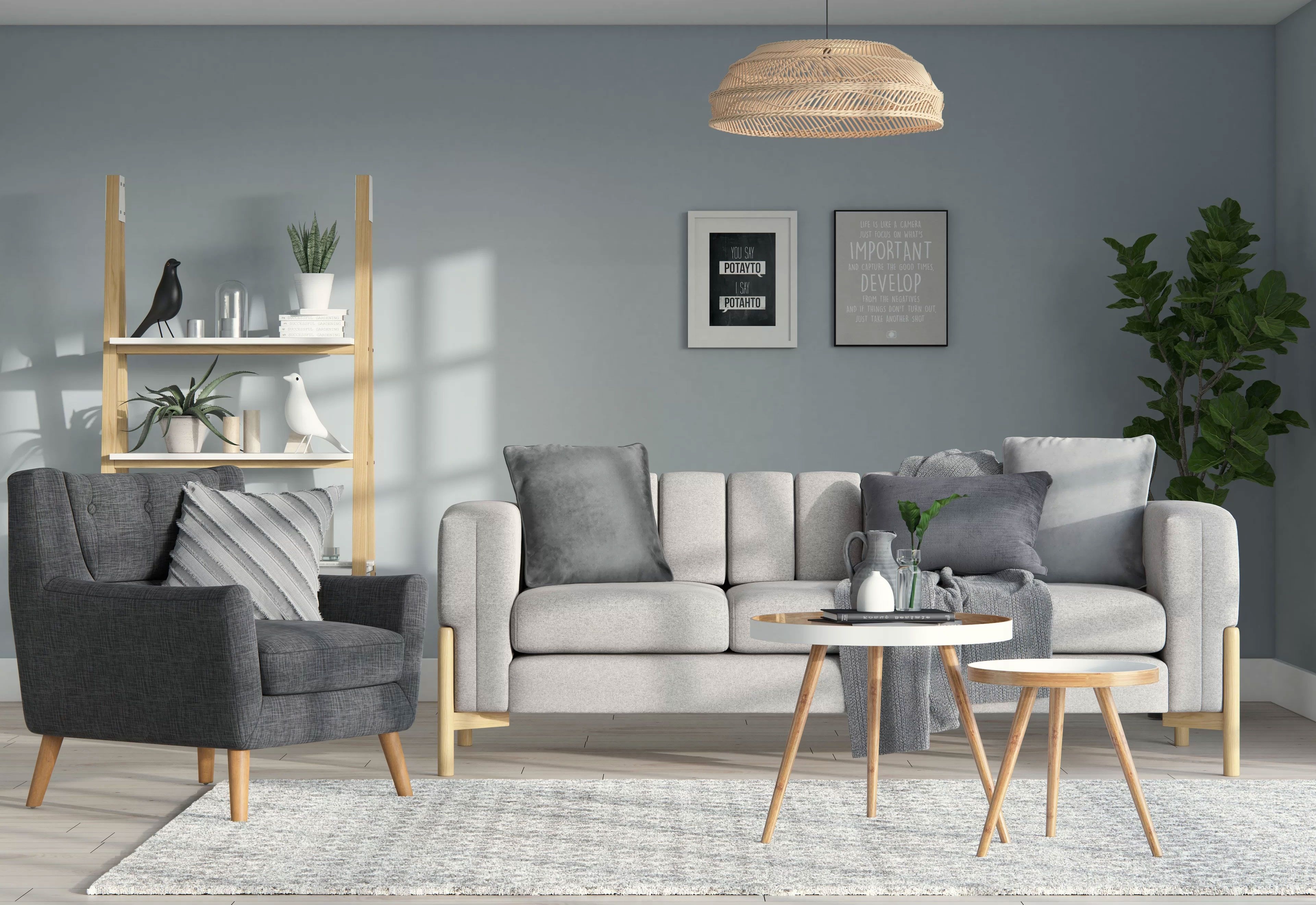 Modern Grey Living Room  Living room design modern, Rustic living