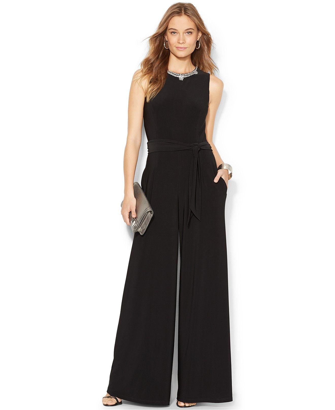 edc49bd2051f Lauren Ralph Lauren Embellished Wide-Leg Jumpsuit - Jumpsuits   Rompers -  Women - Macy s