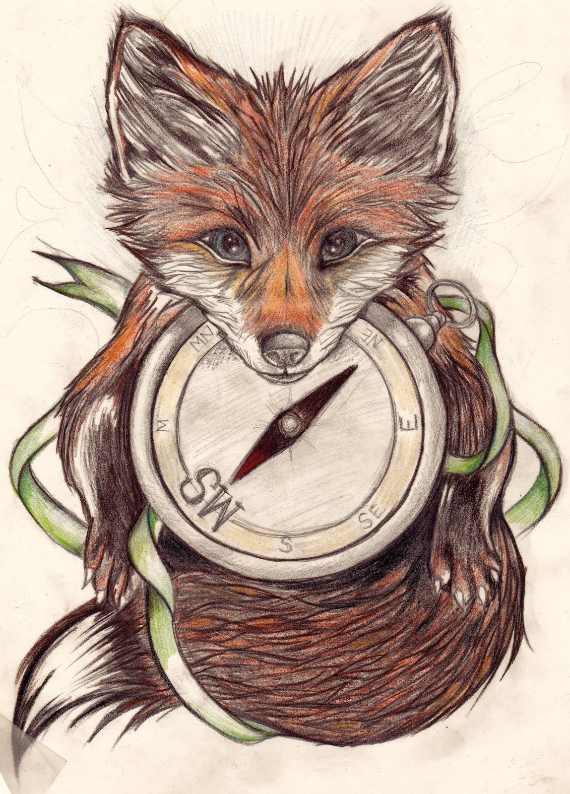If you decide to get a tattoo look at the image of a fox this animal - Fox Tattoo Maybe Replace The Compass With A Dancer S Clock