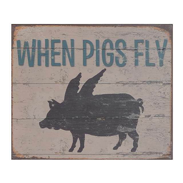 When Pigs Fly Wood Plaque Flying Pig Pig Kitchen Decor Pig Decor