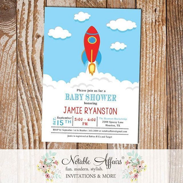 Rocket Baby Shower invitation - Join us for an out of this world baby shower!  The perfect invitation for that little one on the way!  Purchase printed invitations or a digital file from Notable Affairs! http://ift.tt/29vGmou http://ift.tt/29Dmsvs  #notableaffairs #babyshower #invitation #babyshowerinvitation #boybabyshower #girlbabyshower #babyboyshower #babygirlshower #itsagirl #itsaboy #itstwins #itstwingirls #itstwinboys #pregnant #preggo  #rocket #rocketbabyshower #rocketinvitation…