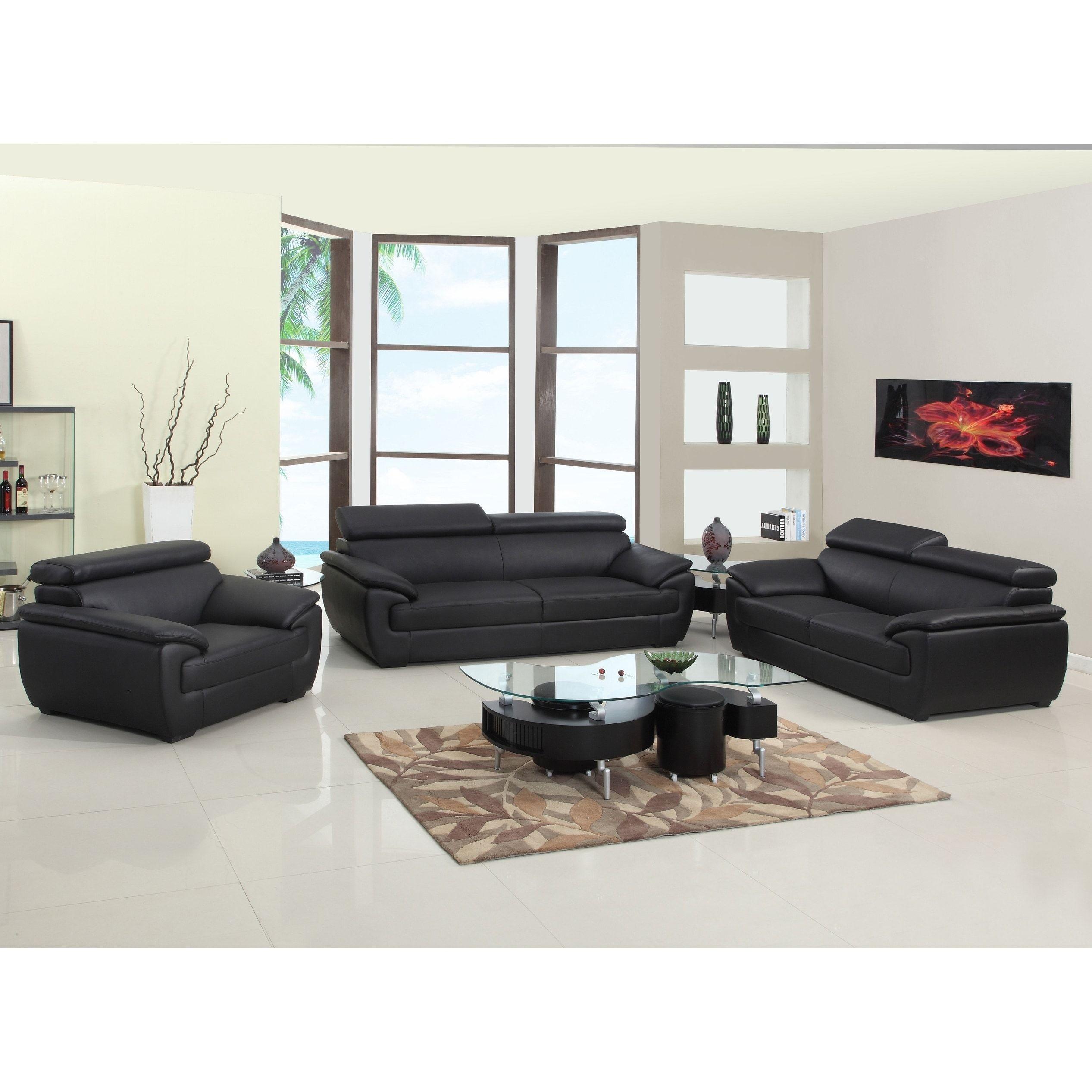 GU Furniture Leather/Match Upholstered 3-Piece Living Room Sofa Set ...