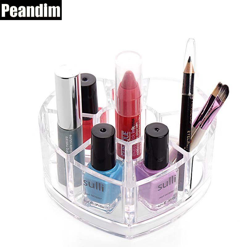 PEANDIM Bathroom Storage Decorative Makeup Organizer Transparent Plastic Heat Shape Makeup Box  sc 1 st  Pinterest & PEANDIM Bathroom Storage Decorative Makeup Organizer Transparent ...