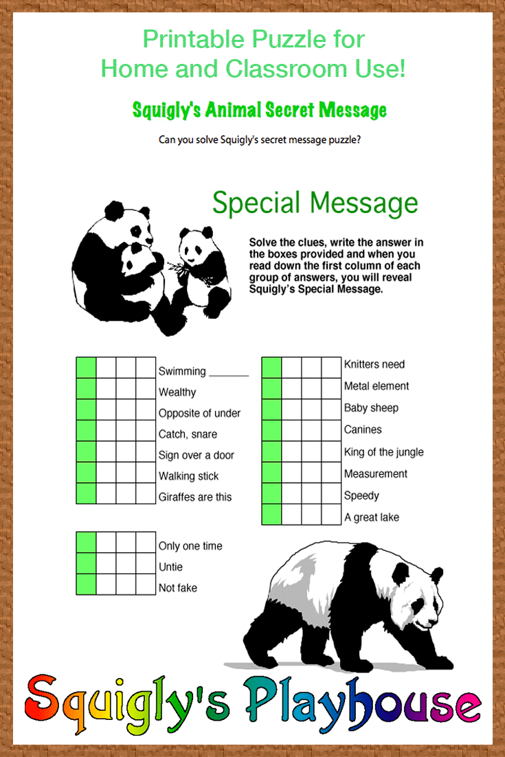 Print this secret message word puzzle for kids  Kids will