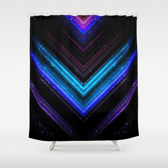 Sparkly metallic blue and purple galaxy lines shower curtain by #PLdesign #geometric #lines #abstract