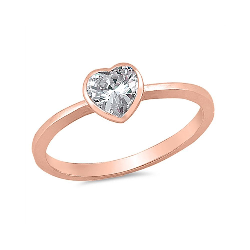 S925 /& 18K Plated Hearts of Fine Jewelry Ring Clear CZ