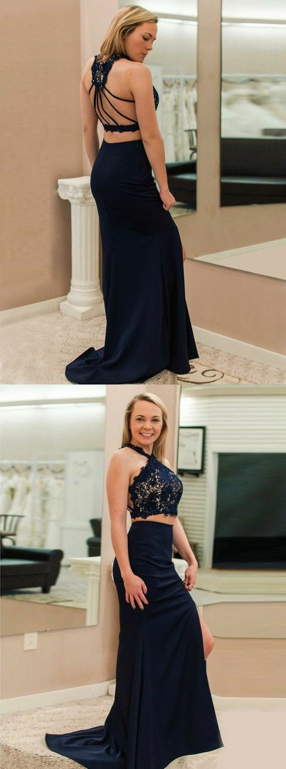 Elegant pieces navy prom party dress mermaid evening gowns with