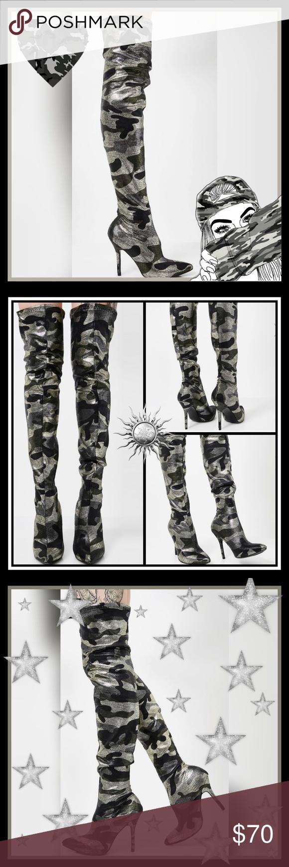 New X_Mackinj Glam Campaign Thigh High Camo Heels NWT #boydollsincamo