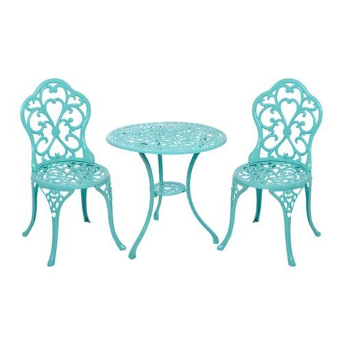 Turquoise Fleur De Lis Cast Iron Bistro Set Of 3 Kirklands
