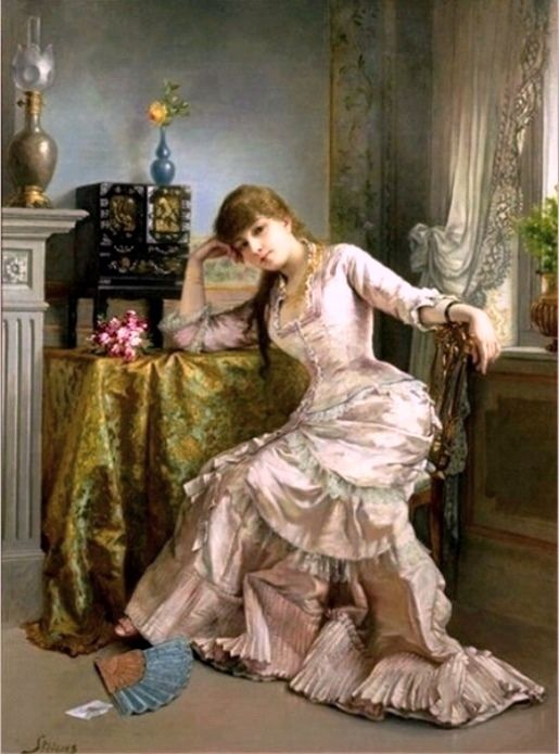 Stevens, Alfred (b,1823)- Woman Sitting w Flowers, In, I