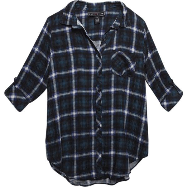 35c223948f6 Plaid Button-Down Graphic Shirt (275 MXN) ❤ liked on Polyvore featuring tops
