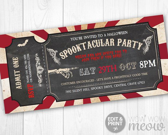 Halloween Invitations Tickets Horror Circus Party by wowwowmeow