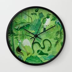 Gr33n Wall Clock  Available at   https://society6.com/guyharkness