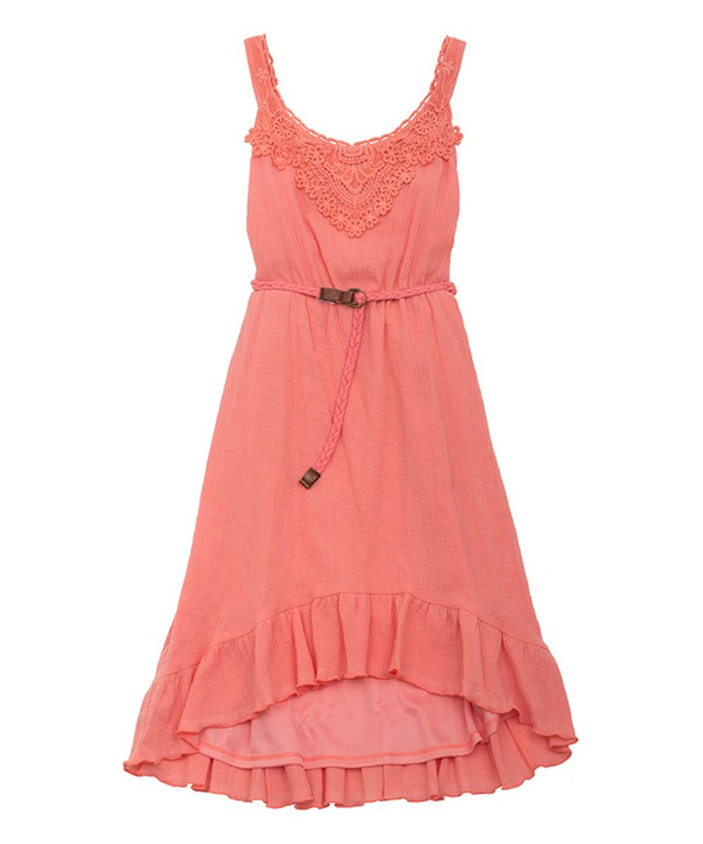 Look at this Rare Editions Coral & White Stripe Eyelet Dress - Girls on #zulily today!