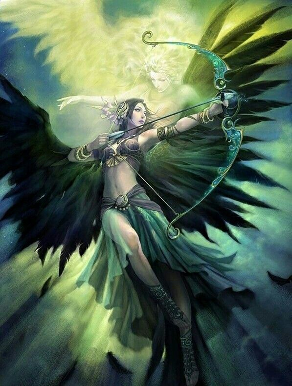 Ange Archer falling angel | green archer | female, woman, girl | character