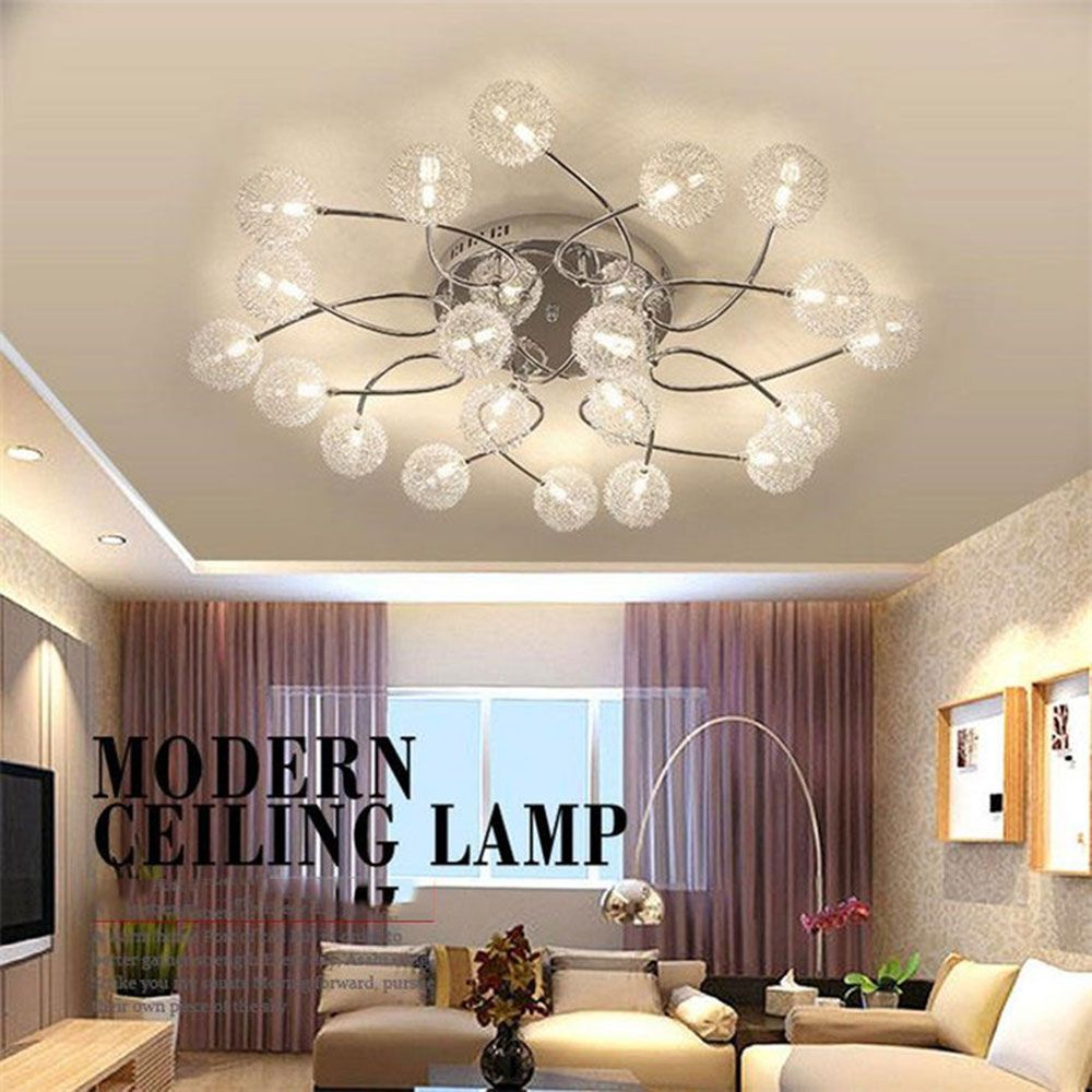 AC110V 220V Modern Lutres LED Bulb Lamp G4 Crystal Aluminum Wire Ceiling Lights Living Room