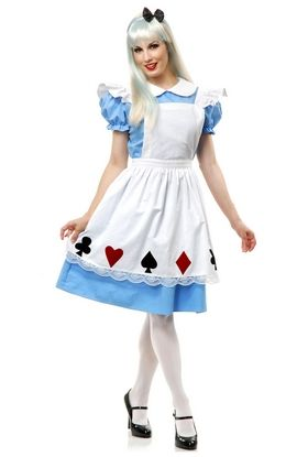 LADIES BLUE /& WHITE STORY BOOK ALICE FANCY DRESS COSTUME