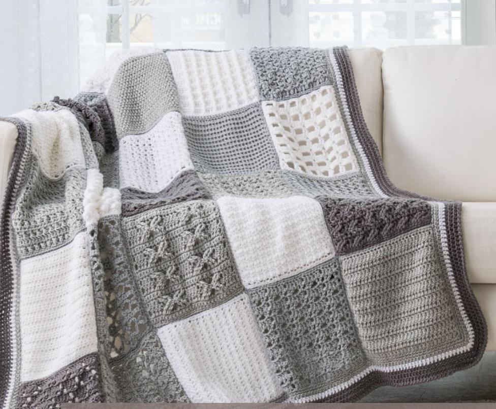 Solid Granny Square Blanket