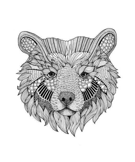 Line Drawing Of Bear Face : Oso mandala buscar con google osos pinterest