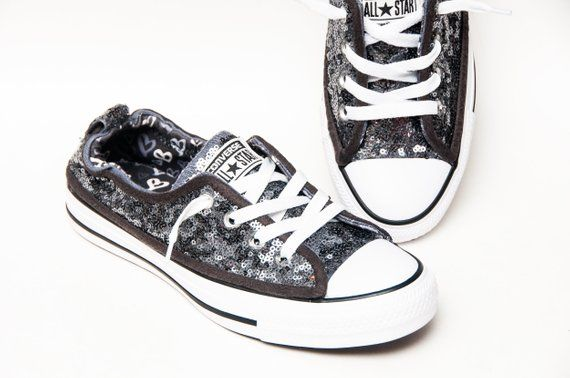 324d253694c Tiny Sequin - Steel Gray Sparkly Canvas Shoreline Converse® Slip On Sneakers  Shoes by Princess