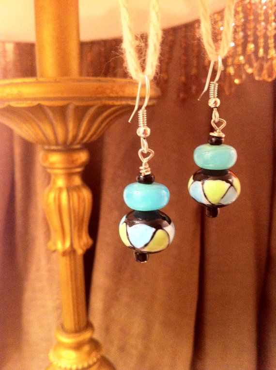 Sterling Silver Dangle Earrings with Teal Green + Black Glass Beads!