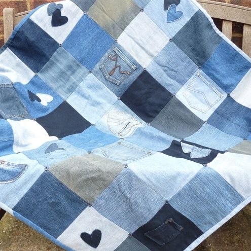 Denim quilt - I like the heart appliques. | quilts | Pinterest ... : denim quilts pinterest - Adamdwight.com
