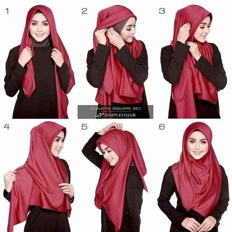 Tutorial Hijab Segi Empat Untuk Perpisahan Sekolah Tutorial Hijab Mudah Hijab Kerudung