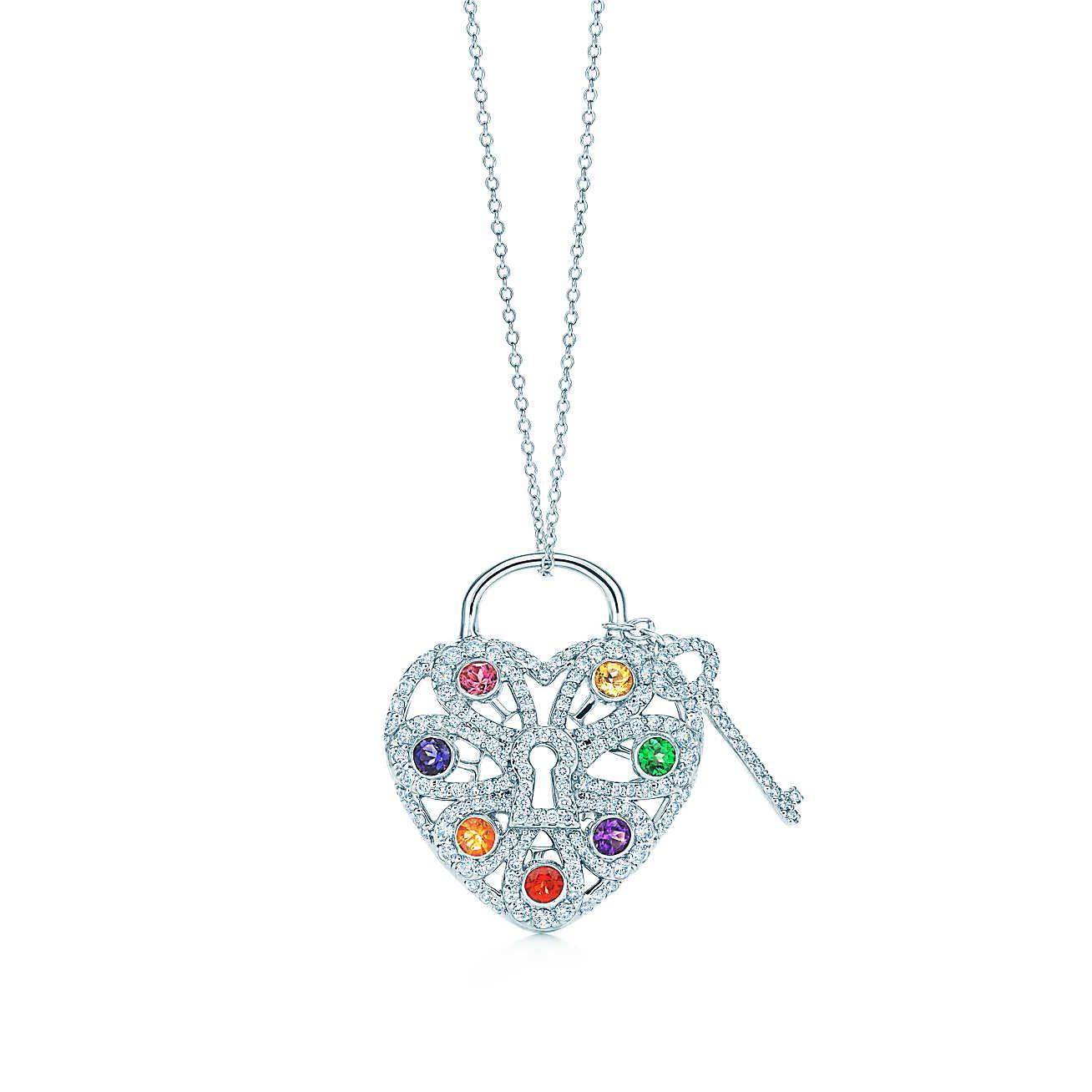 Tiffany Filigree Heart:Pendant with Key