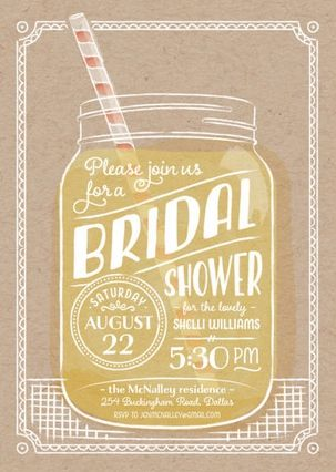 this summer sippin bridal shower invitation has a cute mason jar that is perfect for - Wedding Shower Invites