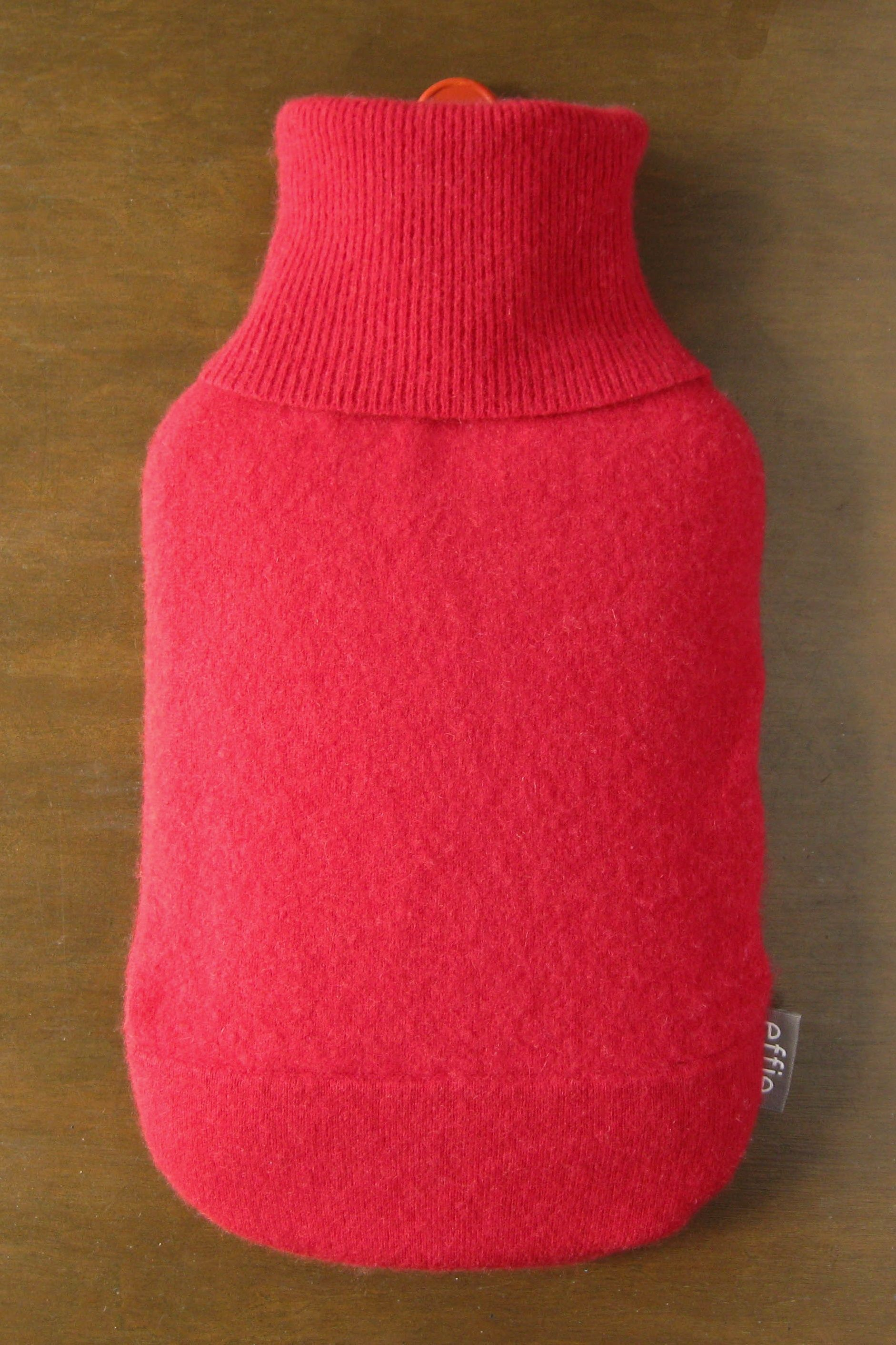Cashmere Hot Water Bottle Cover. Gifts for Women. Soft Red Cashmere Hot Water Bottle Cozy. 100% Cashmere Cover for Hot Water Bottle