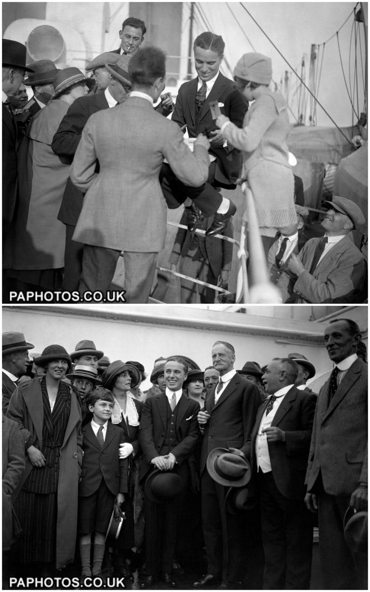 September 1921 - Charlie Chaplin arrives in Southampton, aboard the RMS Olympic (sister ship of the Titanic). He had not seen England's shores since October 1912.
