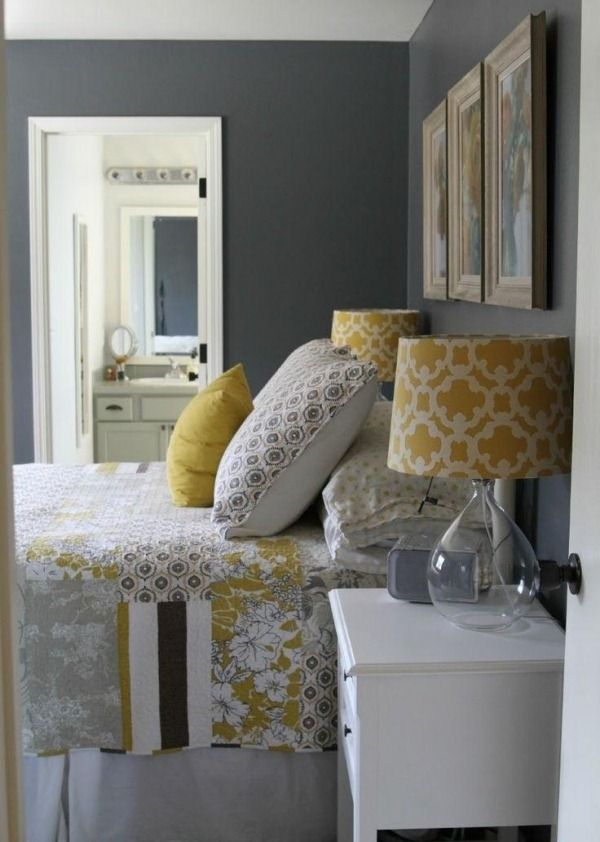 Grey And Yellow Bedroom Delectable Bedroom Wall Color Linen Gray Yellow Wall Decoration Lamp Shade Design Ideas