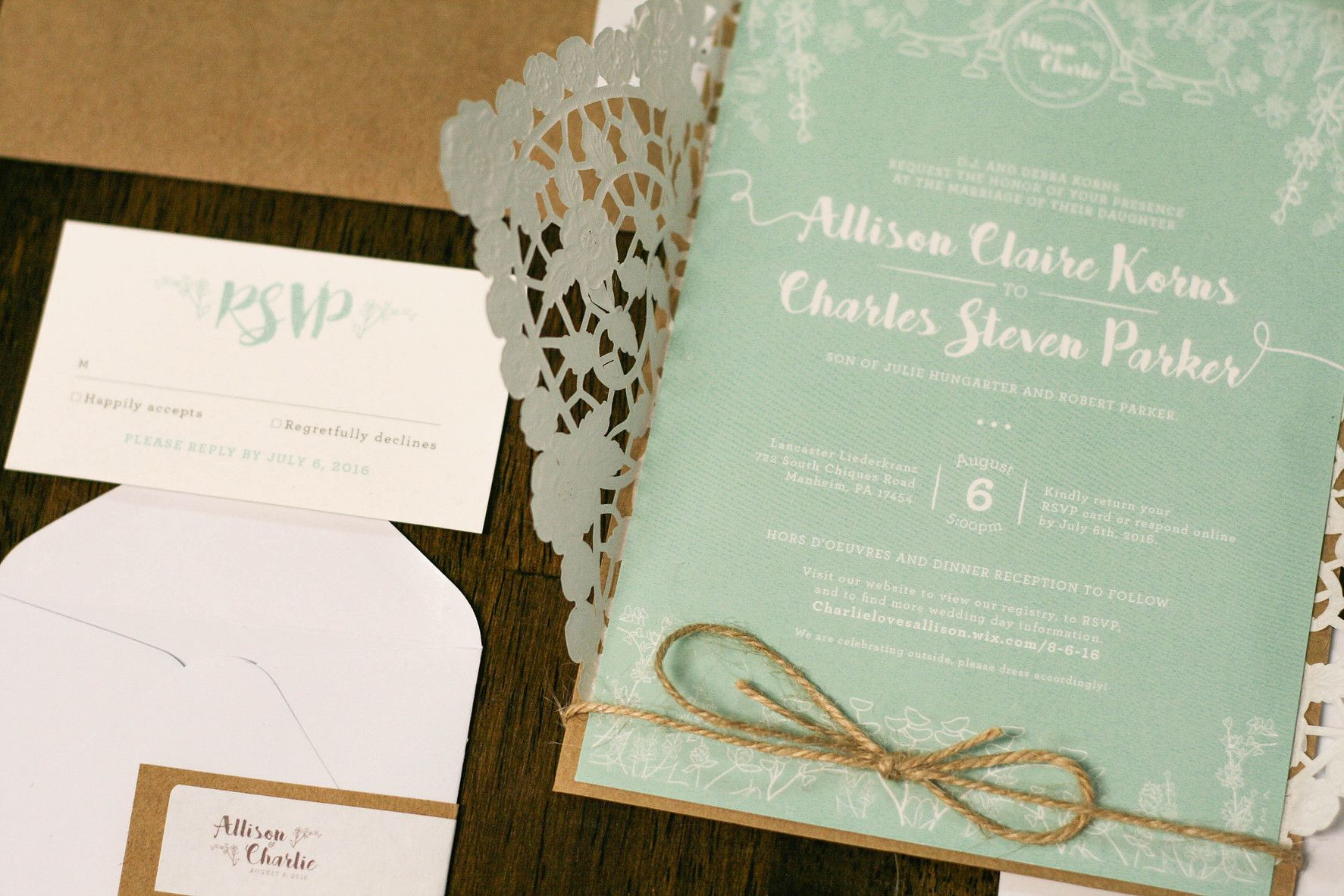 Rustic Chic wedding stationery by Much Love