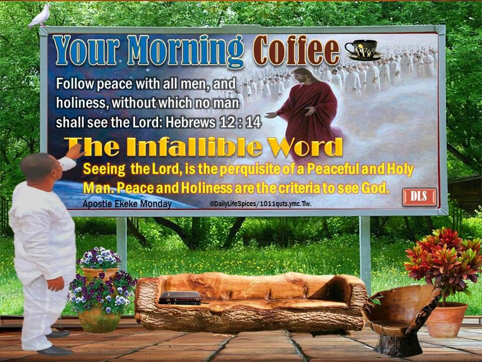 Your Morning Coffee : Seeing The Lord Is Perquisite Of A Peaceful Holy Man. Peace And Holiness Are The Criteria To See God.