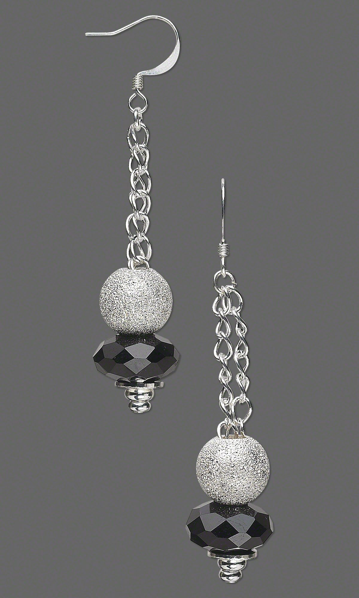 Jewelry Design - Earrings with Dione® Glass Beads, Silver-Plated Brass Stardust Beads and Silver-Plated Chain - Fire Mountain Gems and Beads