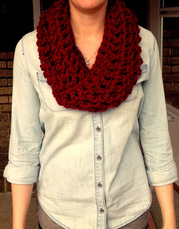 Large Stitch Crochet Fashion Infinity Scarf by ElleKayFashions, $22.90