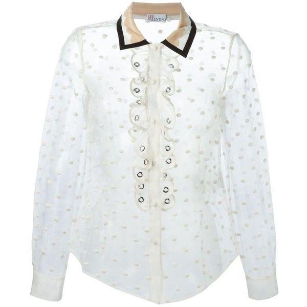 b62f042b388 Red Valentino polka dot sheer shirt ( 730) ❤ liked on Polyvore featuring  tops