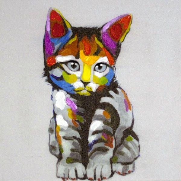 Populaire Tableau toile Contemporain Chat oreilles rouges | Toile  HO62