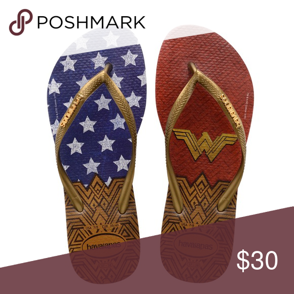 bfd466f1056325 Sandals · Superhero · NWT Slim Havaianas Wonder Woman Flip Flops Brand new  with tags. Size 7 8